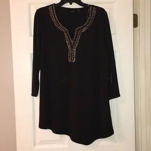 Black Rafaela Hey asymmetrical 3/4 sleeve blouse.